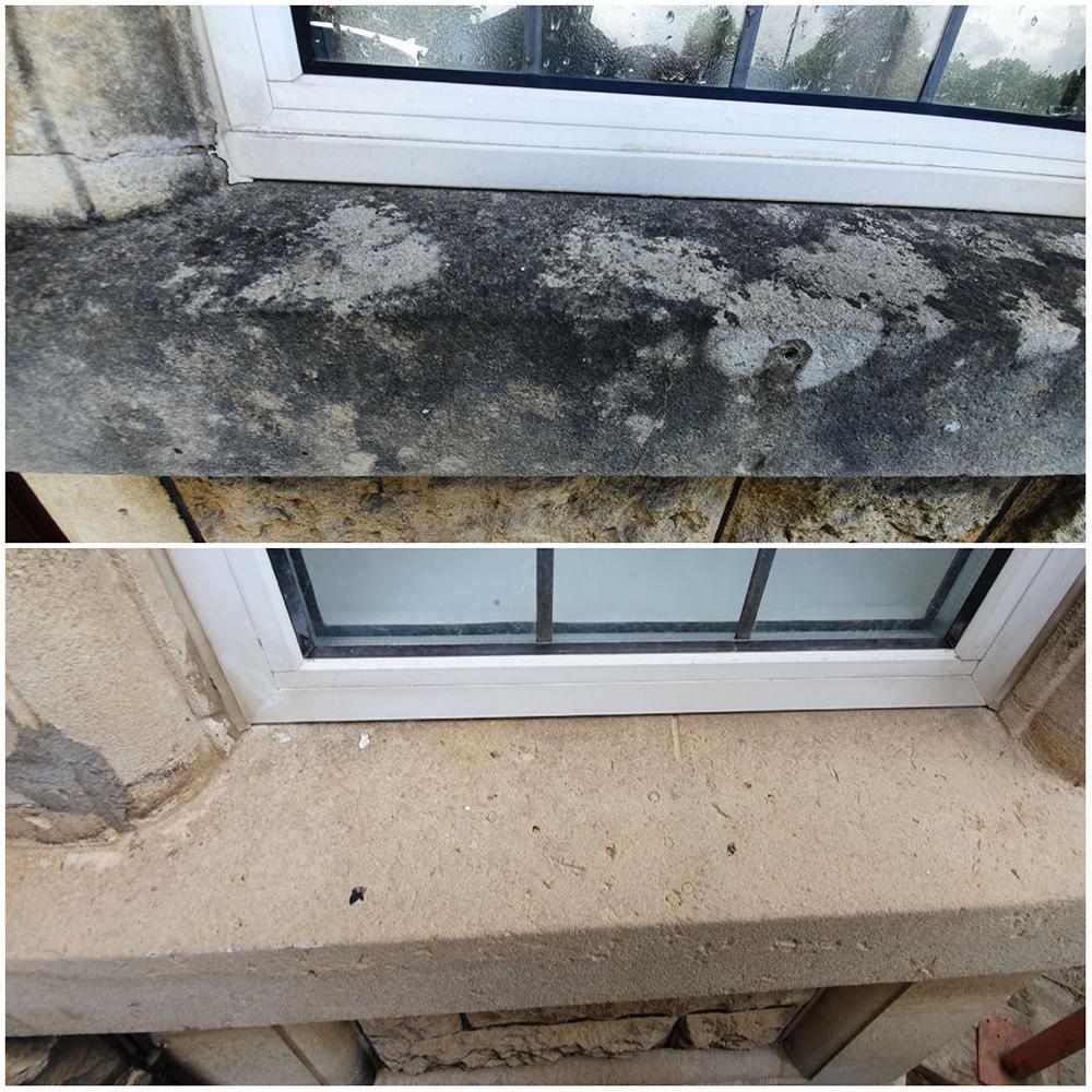 stone cleaning - window ledge